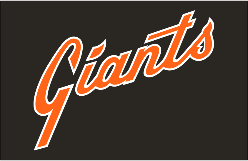 San Francisco Giants Logo Jersey Logo (1978-1982) - Giants scripted diagonally in orange with a white outline on black, worn on Giants road black jersey from 1978 through 1982 SportsLogos.Net