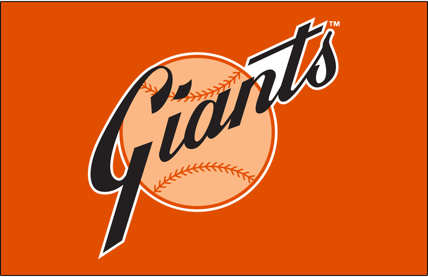 San Francisco Giants Logo Primary Dark Logo (1968-1972) - San Francisco Giants primary logo on orange SportsLogos.Net