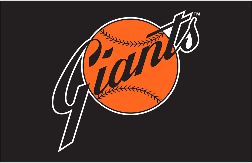 San Francisco Giants Logo Primary Dark Logo (1973-1982) - San Francisco Giants primary logo on black SportsLogos.Net