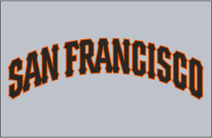 San Francisco Giants Logo Jersey Logo (1994-1999) - (Road) San Francisco arched in black with an orange outline on grey SportsLogos.Net