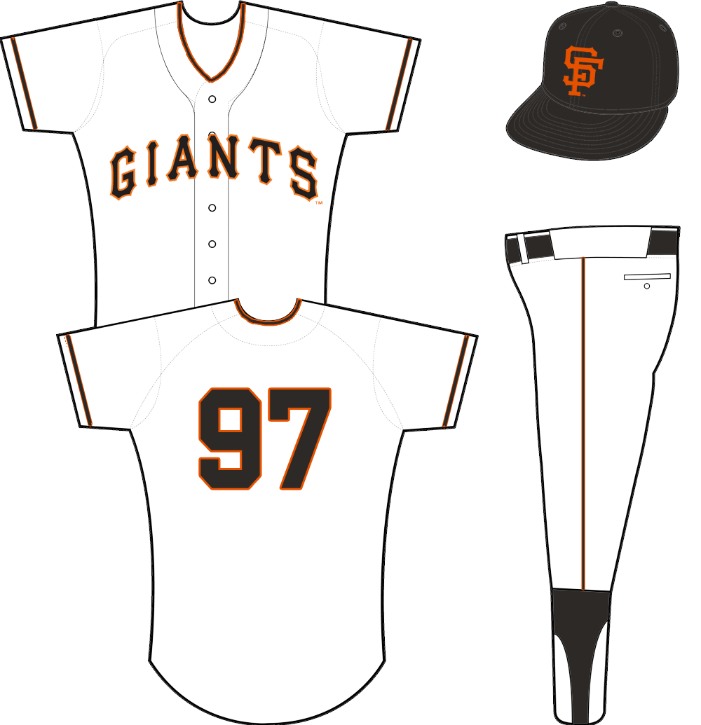 San Francisco Giants Uniform Home Uniform (1958-1972) - GIANTS arched in black and orange on a white jersey SportsLogos.Net