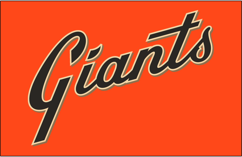 San Francisco Giants Logo Jersey Logo (2014-Pres) - Giants scripted diagonally in black with cream and gold trim on orange, worn on Giants alternate jersey starting in 2014 SportsLogos.Net