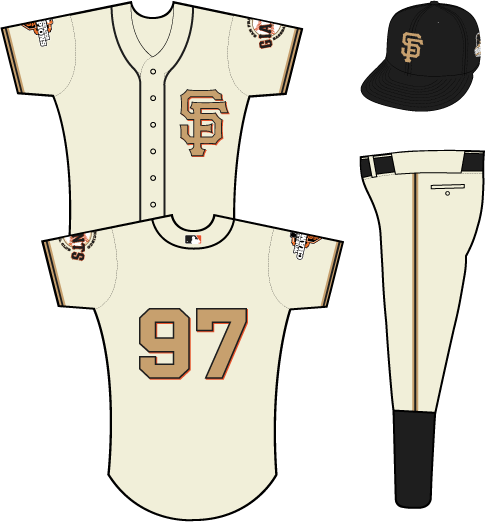 San Francisco Giants Uniform Special Event Uniform (2013) - SF monogram in gold with a black outline and an orange shadow on a cream-colored uniform with black piping, primary logo patch on left sleeve, 2012 WS champs patch on right sleeve SportsLogos.Net