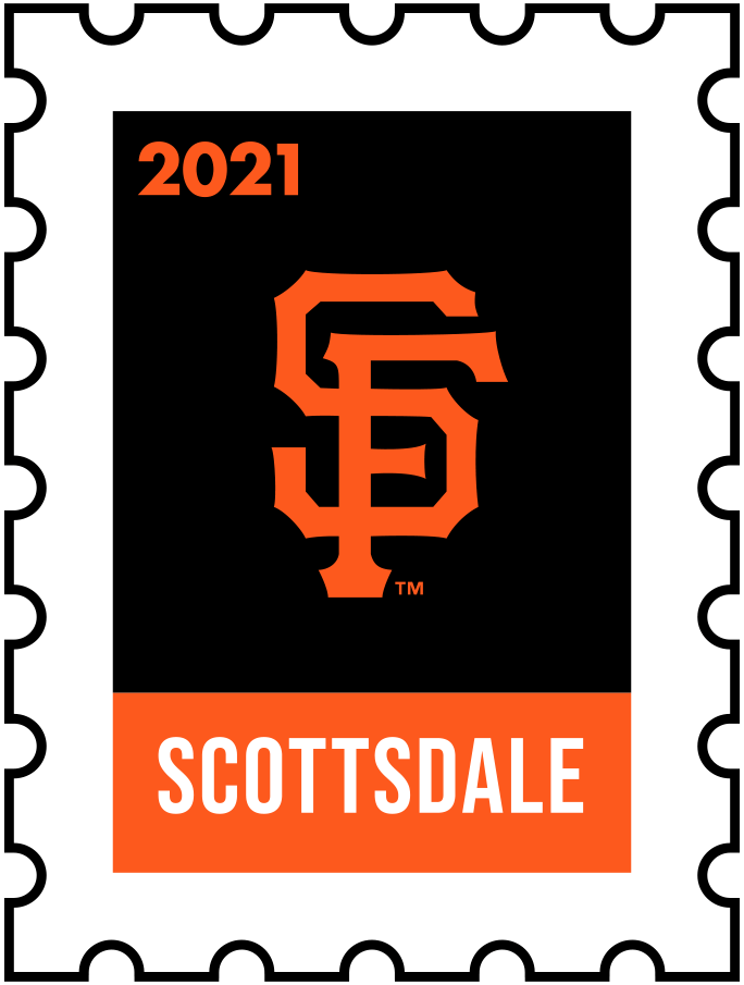 San Francisco Giants Logo Event Logo (2021) - The San Francisco Giants 2021 Spring Training logo, the design follows a league-wide style using a postage stamp in team colours with the team logo in the middle. SportsLogos.Net
