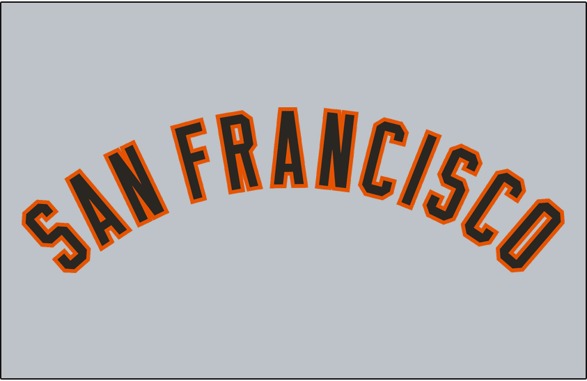 San Francisco Giants Logo Jersey Logo (1958-1972) - SAN FRANCISCO arched in black and orange, worn on San Francisco Giants road jersey from 1958 through 1972 SportsLogos.Net