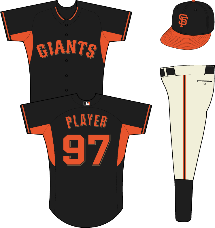 San Francisco Giants Uniform Practice Uniform (2014-Pres) - Giants in orange with a black outline and a gold shadow on a black uniform with orange underarms and piping SportsLogos.Net