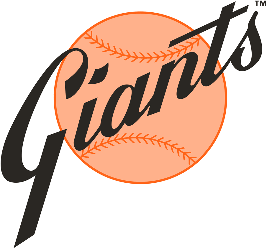 San Francisco Giants Logo Alternate Logo (1973-1979) - Giants in black scripted diagonally on an orange baseball SportsLogos.Net