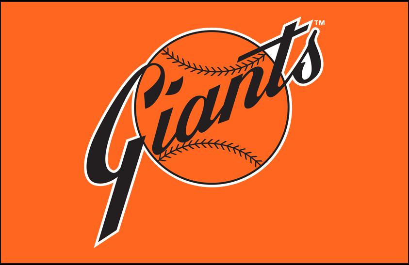 San Francisco Giants Logo Primary Dark Logo (1973-1982) - San Francisco Giants primary logo on orange SportsLogos.Net