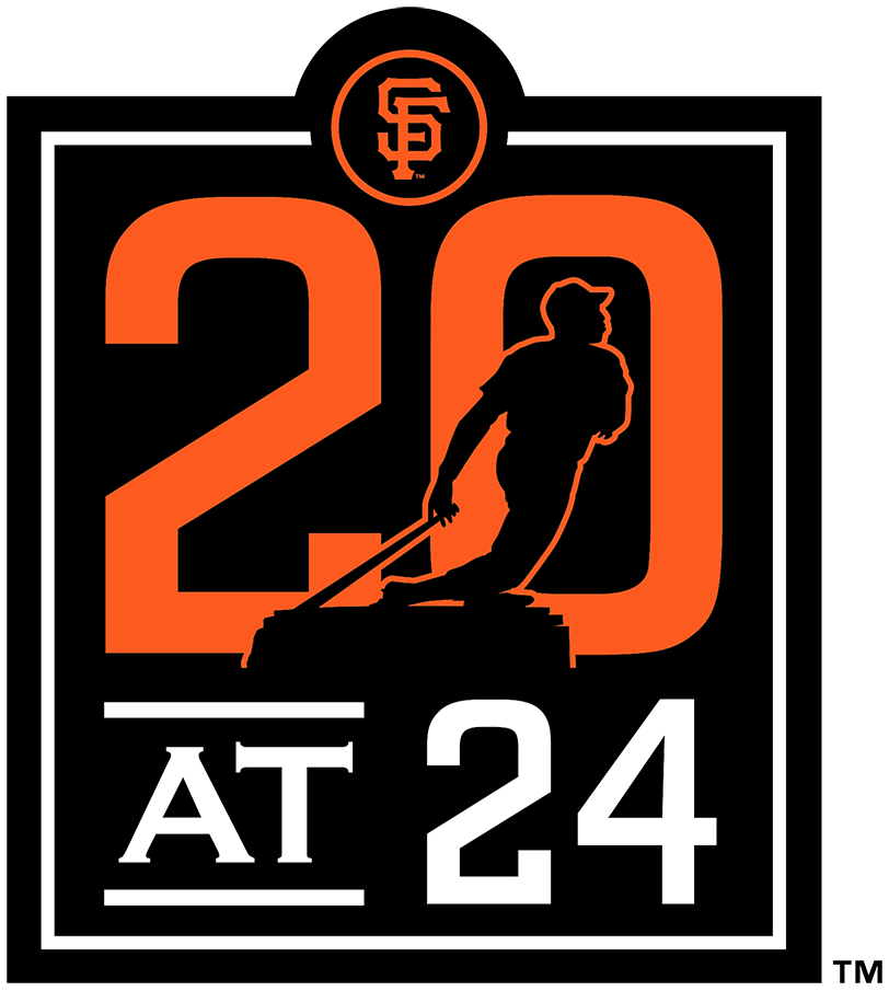 San Francisco Giants Logo Stadium Logo (2020) - 20 at 24 Patch celebrating the 20th anniversary at Oracle Park, which is located at 24 Willie Mays Plaza. A statue of Mays appears on the patch SportsLogos.Net
