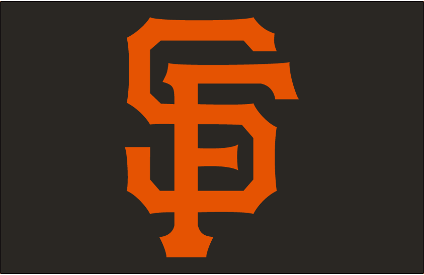 San Francisco Giants Logo Cap Logo (1994-1999) - Interlocked SF in orange on black SportsLogos.Net