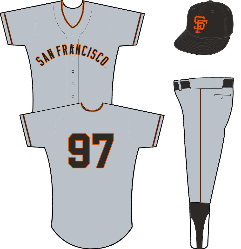 San Francisco Giants Uniform Road Uniform (1958-1972) - SAN FRANCISCO arched in black and orange on a grey jersey SportsLogos.Net