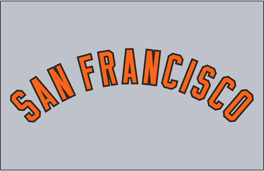 San Francisco Giants Logo Jersey Logo (1973-1976) - SAN FRANCISCO arched in orange and black, worn on San Francisco Giants road jersey from 1973 through 1976 SportsLogos.Net