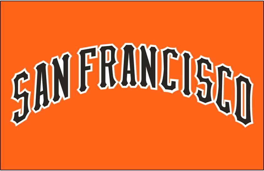 San Francisco Giants Logo Jersey Logo (1977) - SAN FRANCISCO arched in black and white on orange, worn on Giants road orange jerseys during the 1977 season only SportsLogos.Net