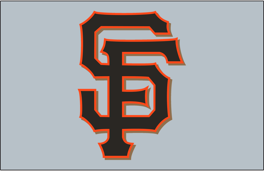 San Francisco Giants Logo Jersey Logo (2012-Pres) - (Road Alternate) Interlocking SF in black with an orange outline and a gold shadow on grey SportsLogos.Net