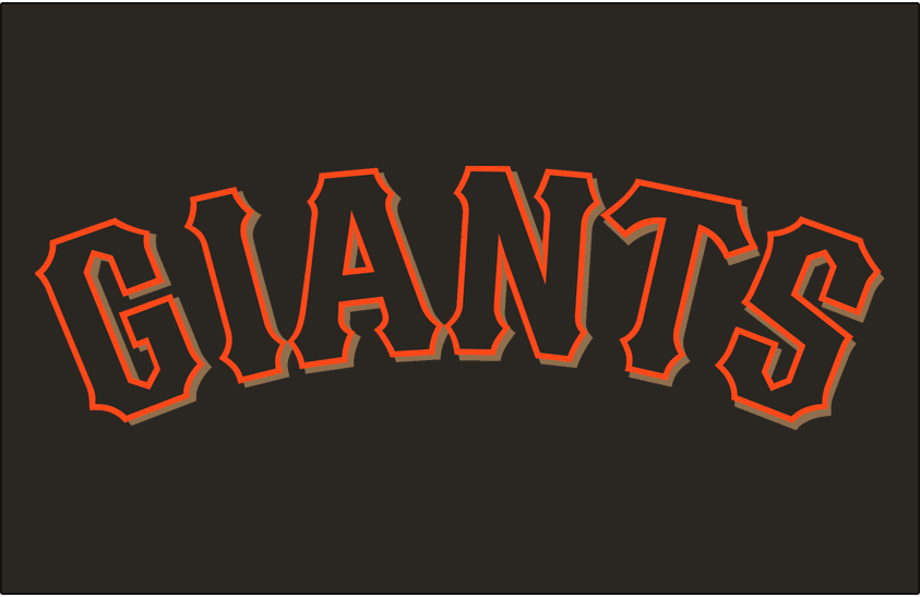 San Francisco Giants Logo Jersey Logo (2001) - (Home Alternate) Giants arched in black with an orange outline and a gold drop shadow on black SportsLogos.Net