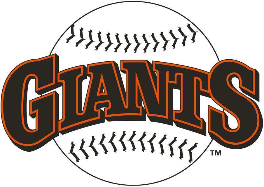 San Francisco Giants Logo Primary Logo (1983-1993) - 'Giants' in black and orange on a black stitched baseball SportsLogos.Net
