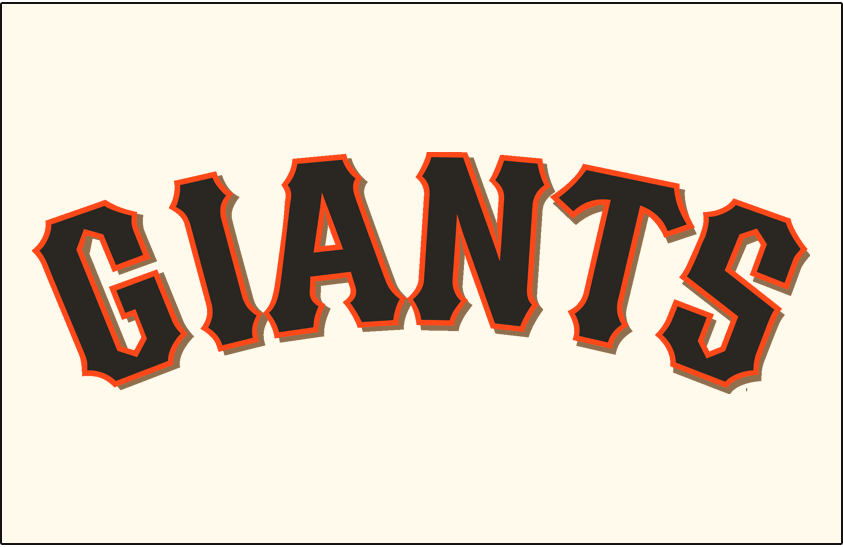 San Francisco Giants Logo Jersey Logo (2000-Pres) - (Home) Giants arched in black with an orange outline and a gold drop shadow on cream SportsLogos.Net