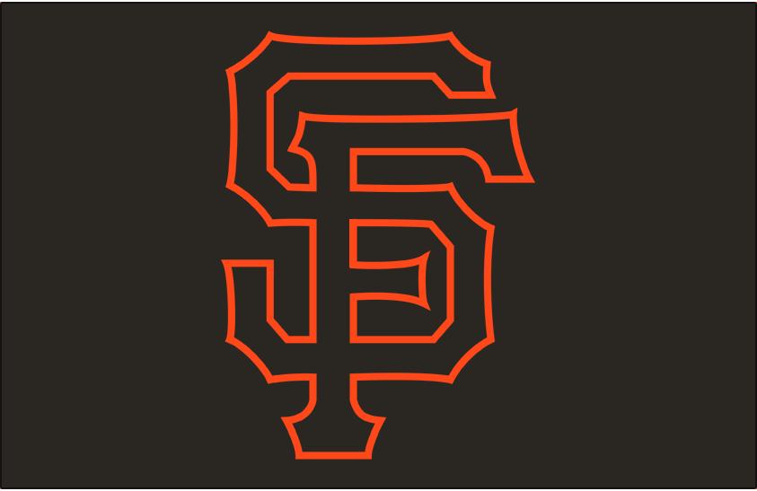 San Francisco Giants Logo Cap Logo (2001-2002) - (Alternate) The letters S and F interlocking in black with an orange outline on black SportsLogos.Net