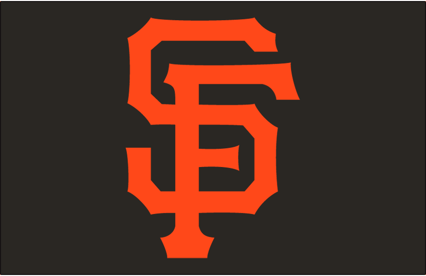 San Francisco Giants Logo Cap Logo (2000-Pres) - The letters S and F interlocking in orange on black SportsLogos.Net