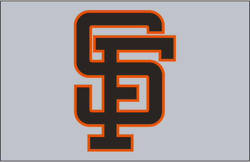 San Francisco Giants Logo Jersey Logo (1983-1993) - (Road) The letters S and F interlocking in black with an orange outline on grey SportsLogos.Net