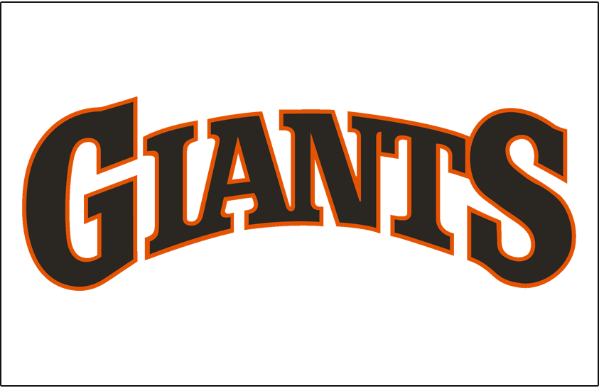 San Francisco Giants Logo Jersey Logo (1983-1993) - (Home) Giants arched in black with an orange outline on white SportsLogos.Net
