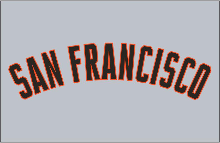 San Francisco Giants Logo Jersey Logo (2000-2004) - (Road) San Francisco arched in black with an orange outline on grey SportsLogos.Net