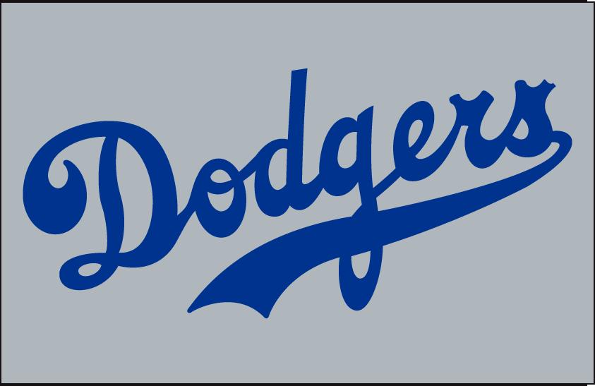 Brooklyn Dodgers Logo Jersey Logo (1938) - Dodgers in blue on grey, worn on Brooklyn Dodgers road jersey in 1938 SportsLogos.Net