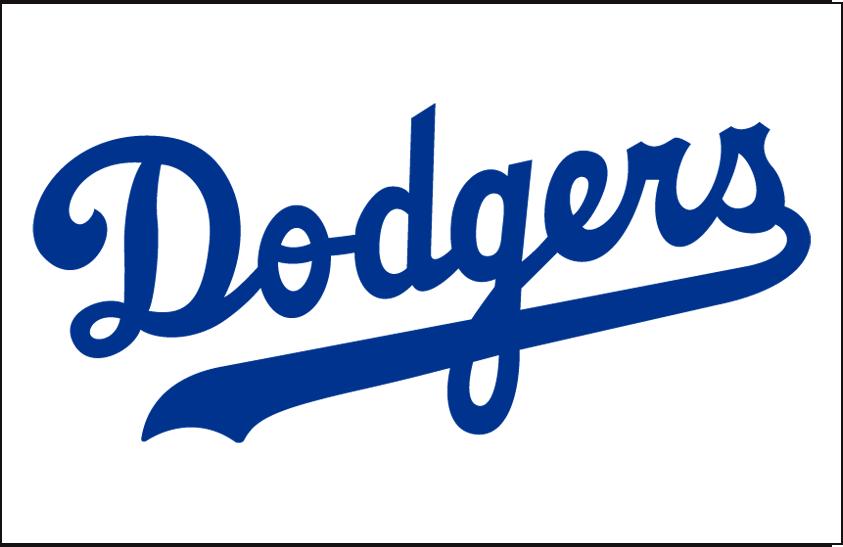 Brooklyn Dodgers Logo Jersey Logo (1946-1957) - Dodgers scripted in blue with an underscore, worn on Brooklyn Dodgers home jersey from 1946 to 1957 SportsLogos.Net