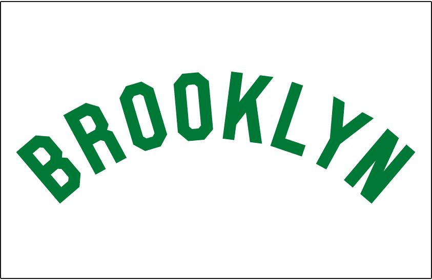 Brooklyn Dodgers Logo Jersey Logo (1937) - BROOKLYN arched in green on white jersey, worn by Brooklyn Dodgers on home jersey in 1937 only SportsLogos.Net