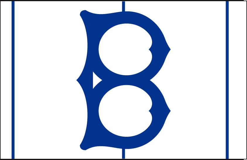 Brooklyn Dodgers Logo Cap Logo (1938) - A blue B on white with blue stripes, worn on Brooklyn Dodgers home cap in 1938 SportsLogos.Net