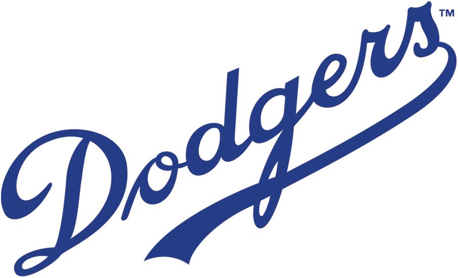 Brooklyn Dodgers Logo Primary Logo (1938-1944) - 'Dodgers' in blue script with an underscore SportsLogos.Net