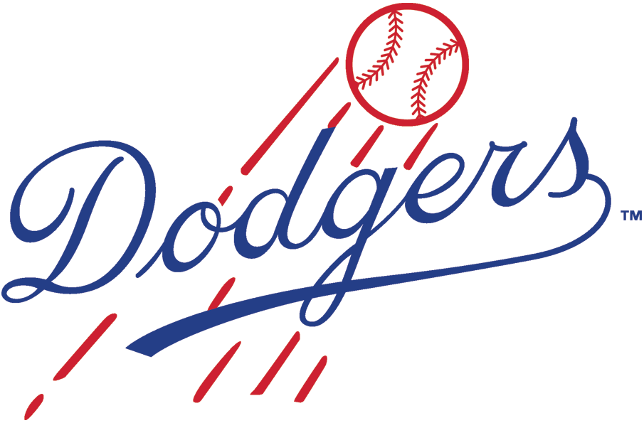 Brooklyn Dodgers Logo Primary Logo (1945-1957) - Dodgers in blue scripted in front of a flying baseball in red SportsLogos.Net