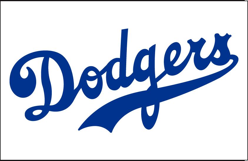 Brooklyn Dodgers Logo Jersey Logo (1938-1945) - Dodgers in blue on white, worn on Brooklyn Dodgers home jersey from 1938 through 1945 SportsLogos.Net
