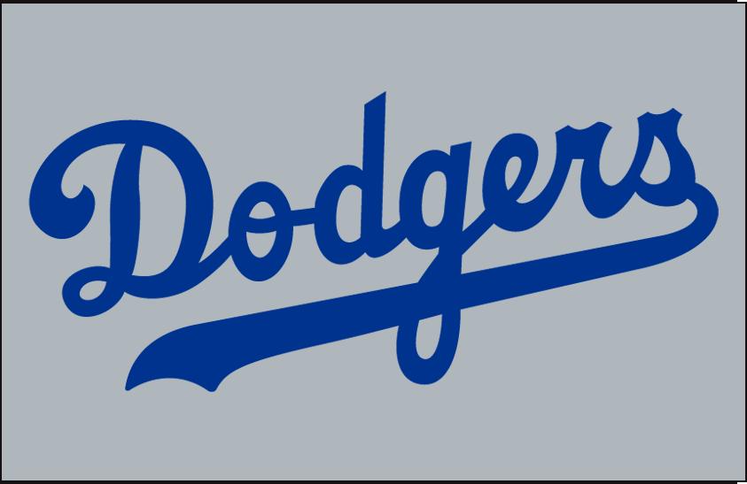 Brooklyn Dodgers Logo Jersey Logo (1946-1957) - Dodgers in blue on grey, worn on Brooklyn Dodgers road jersey from 1946 to 1957 SportsLogos.Net