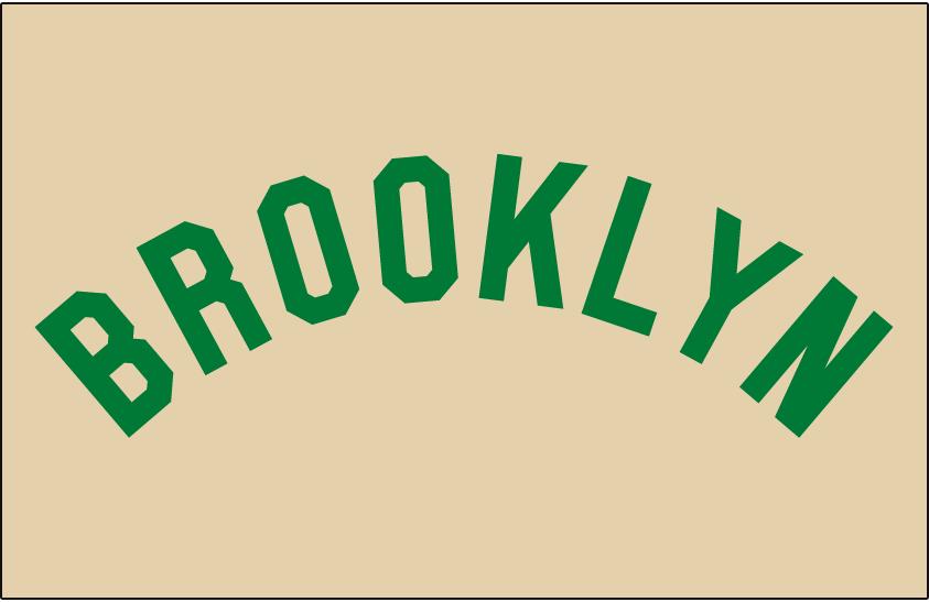 Brooklyn Dodgers Logo Jersey Logo (1937) - BROOKLYN arched in green on cream jersey, worn by Brooklyn Dodgers on road jersey in 1937 only SportsLogos.Net