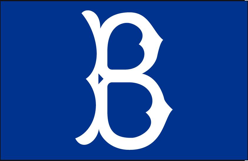 Brooklyn Dodgers Logo Cap Logo (1949-1957) - A white B on blue, worn on Brooklyn Dodgers cap from 1949 through 1957 SportsLogos.Net