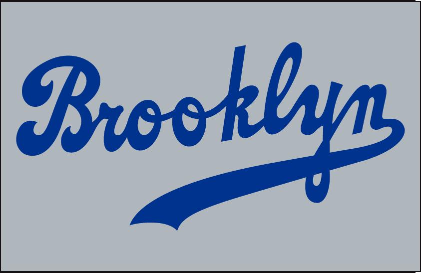 Brooklyn Dodgers Logo Jersey Logo (1939-1945) - Brooklyn scripted in blue with underscore on grey, worn on Dodgers road jersey from 1939 through 1945 SportsLogos.Net