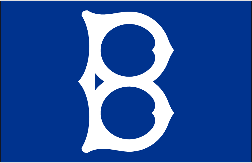 Brooklyn Dodgers Logo Cap Logo (1938-1955) - A white B on blue background, worn at home only from 1934-36, road only in 1938, and full-time from 1939 through 1955 SportsLogos.Net
