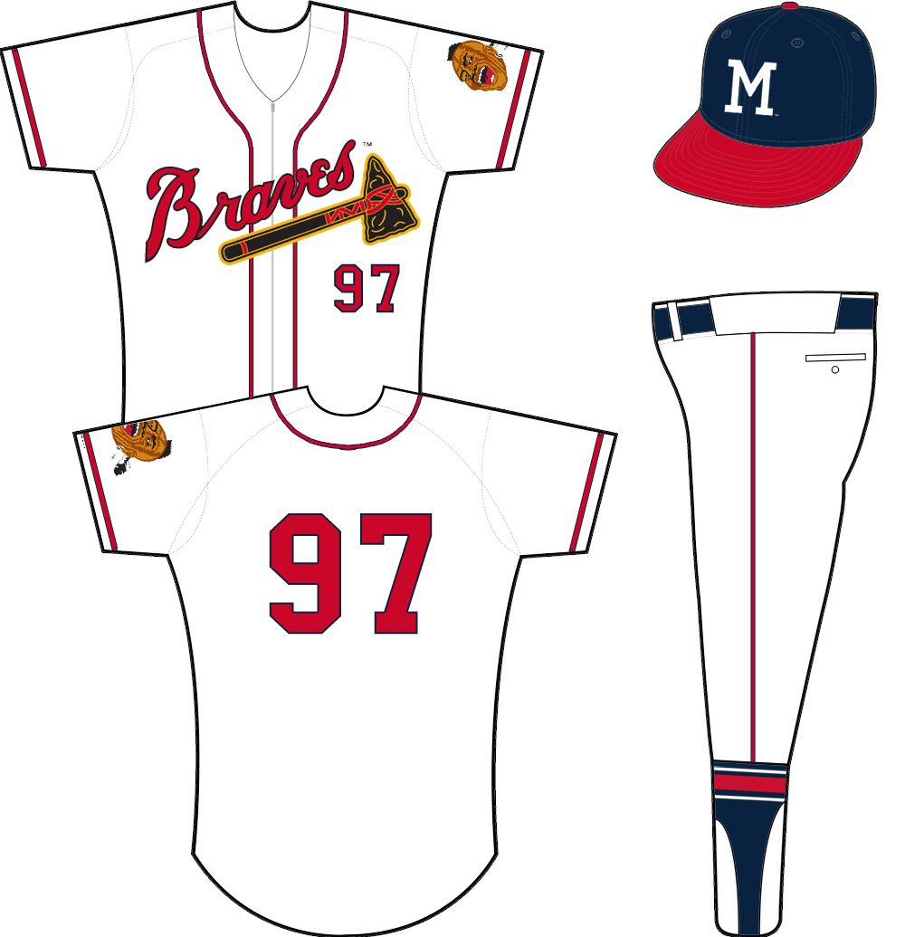 Milwaukee Braves Uniform Home Uniform (1957-1962) - Braves tomahawk logo across a white zip-up jersey with player number below in red. Native American mascot logo on sleeve. SportsLogos.Net