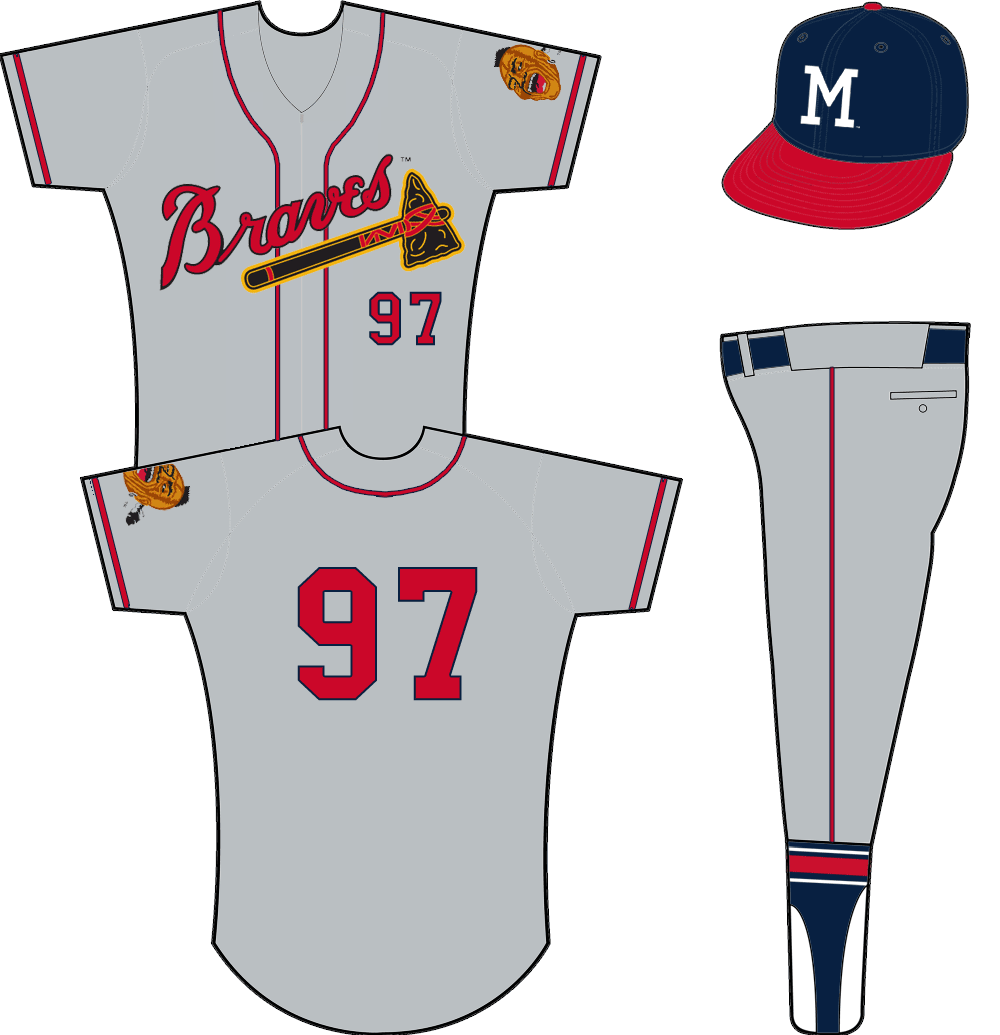 Milwaukee Braves Uniform Road Uniform (1957-1962) - Braves tomahawk logo across a grey zip-up jersey with player number below in red. Native American mascot logo on sleeve. SportsLogos.Net