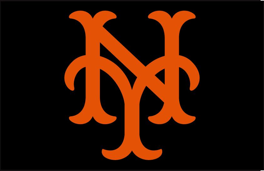 New York Giants Logo Cap Logo (1948-1957) - Interlocked NY in orange SportsLogos.Net