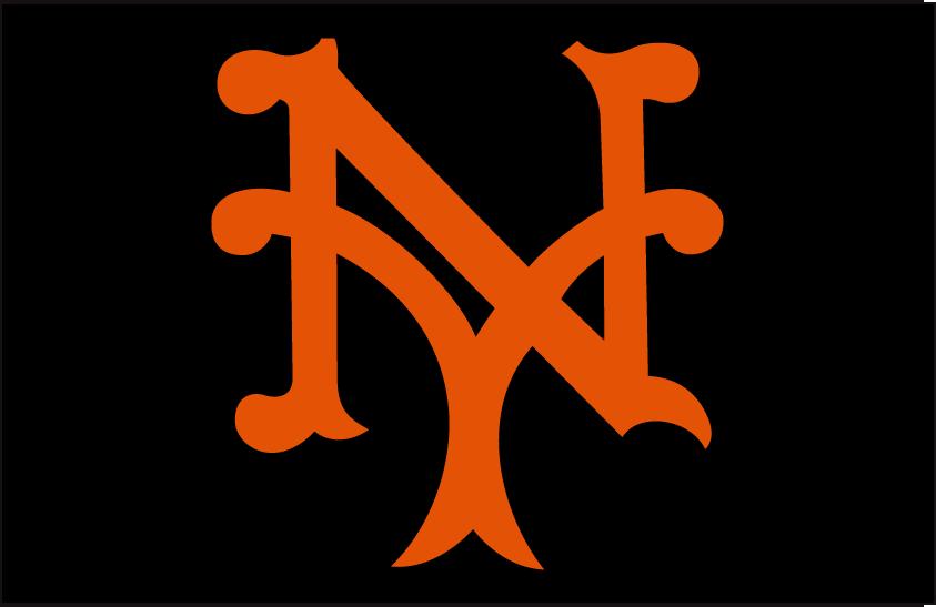 New York Giants Logo Cap Logo (1933-1936) - Stylized orange interlocking NY SportsLogos.Net