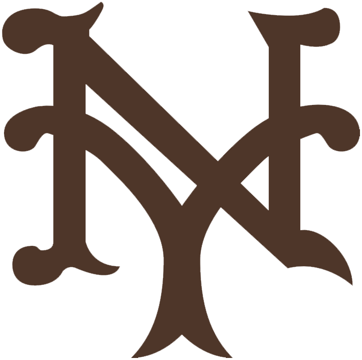 New York Giants Logo Primary Logo (1909) - An interlocking NY, for New York, in brown SportsLogos.Net