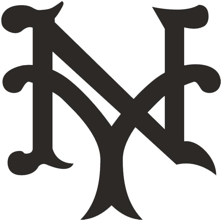 New York Giants Logo Primary Logo (1911-1912) - An interlocking NY, for New York, in black SportsLogos.Net