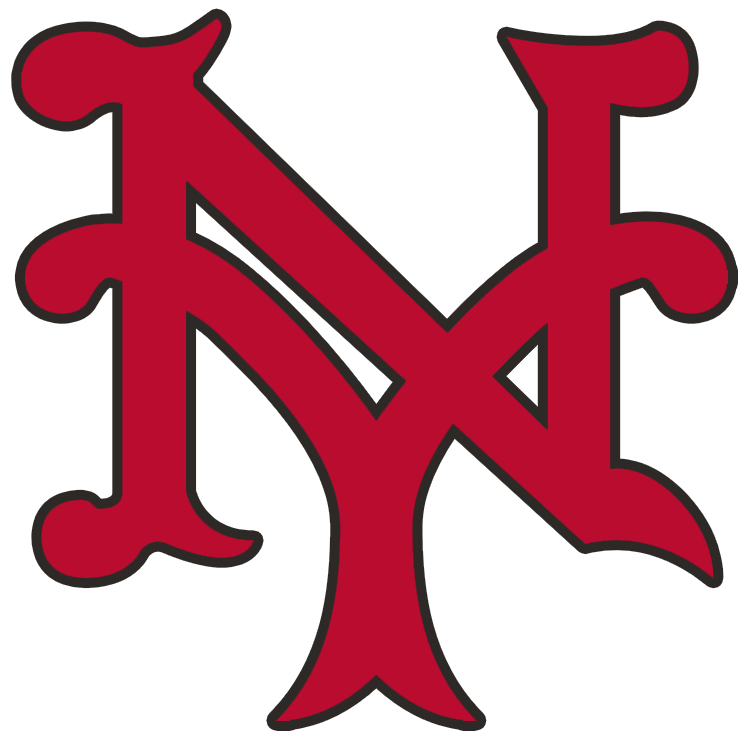 New York Giants Logo Primary Logo (1930-1932) - An interlocking NY, for New York, in red with black outline SportsLogos.Net