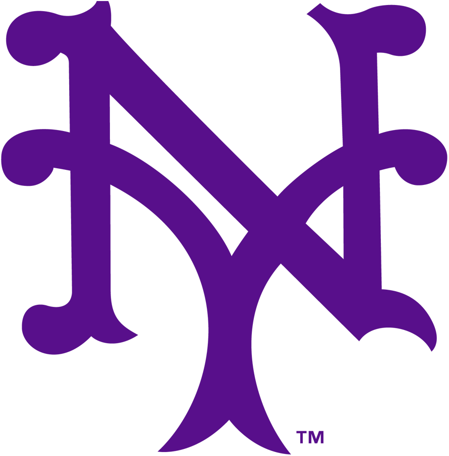 New York Giants Logo Primary Logo (1913-1914) - An interlocking NY in purple SportsLogos.Net
