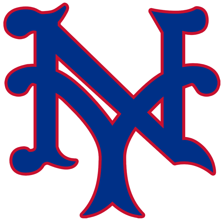 New York Giants Logo Primary Logo (1940-1946) - Interlocking 'NY' in blue with red trim SportsLogos.Net