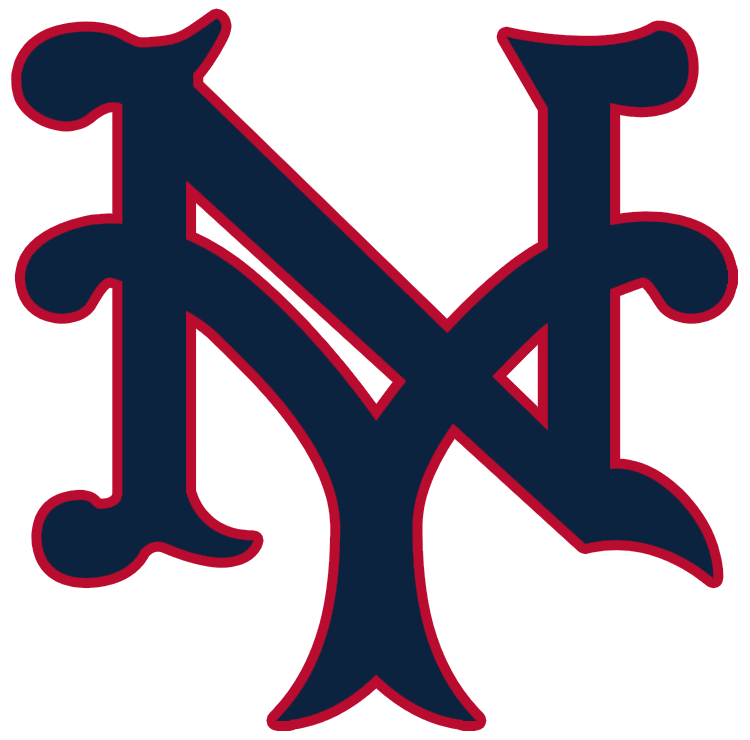 New York Giants Logo Primary Logo (1928-1929) - An interlocking NY, for New York, in blue with red outline SportsLogos.Net