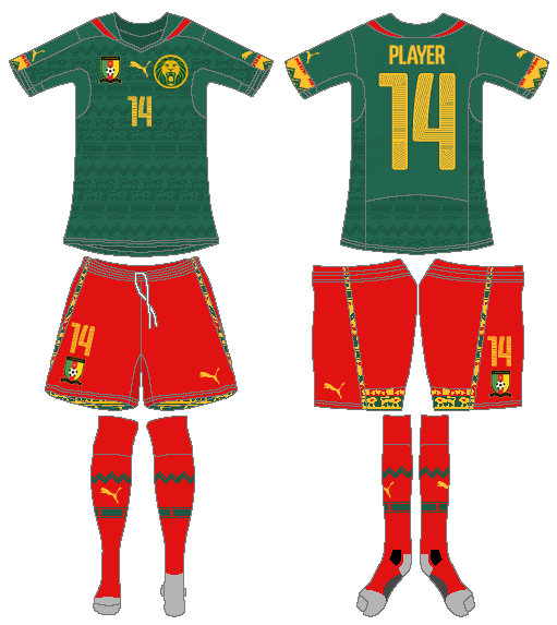 84d5e1372fe Cameroon Home Uniform - Confédération Africaine de Football (CAF ...