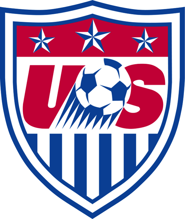 United States Logo Primary Logo (2014-2015) - US in red with a soccer ball in blue streaking upwards - inside a red, white, and blue shield with three stars at the top SportsLogos.Net